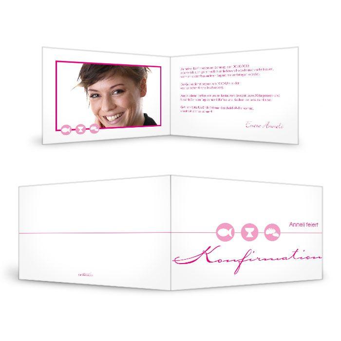 Schlichte Einladungskarte zur Konfirmation oder Kommunion Pink