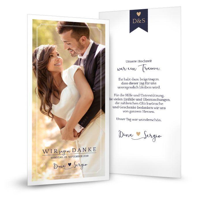 Schlichte Danksagung zur Hochzeit in Weiß Blau mit Foto