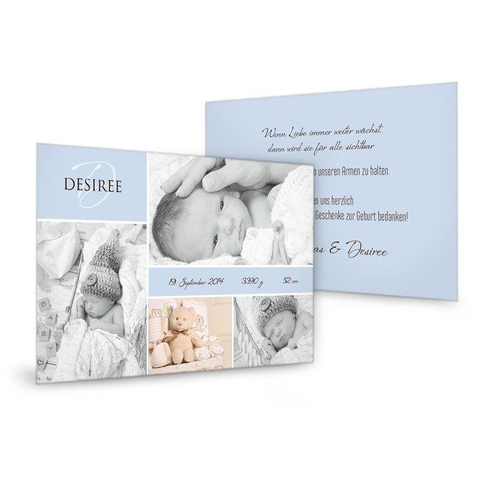 Schlichte Postkarte zur Geburt mit vielen Fotos