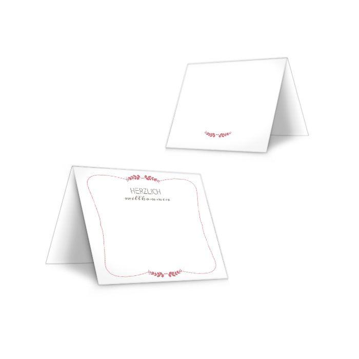 Romantische Tischkarten zur Hochzeit mit Ähren in Rosa
