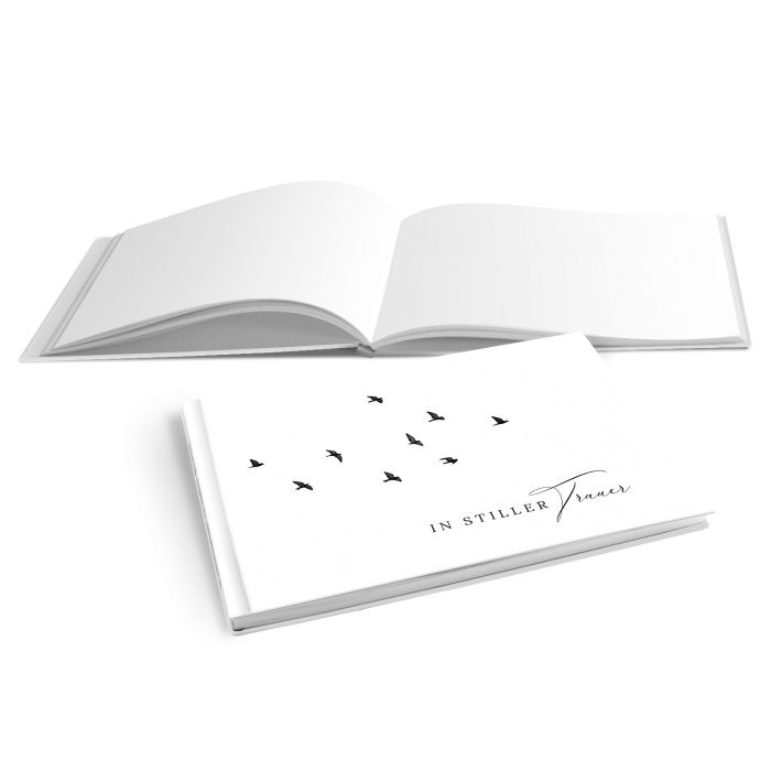 Hardcover Kondolenzbuch mit fliegenden Vögeln