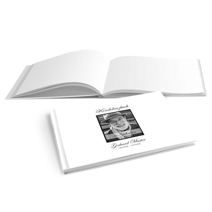 Schlichtes Hardcover Kondolenzbuch mit Foto