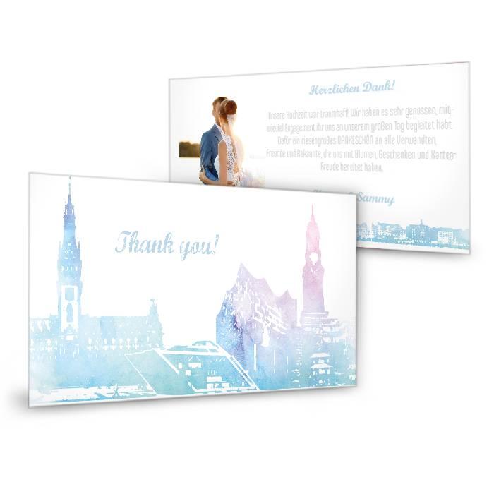 Schöne Danksagungskarte im Skylinedesign von Hamburg