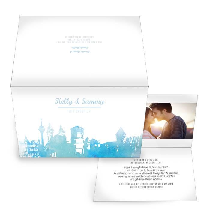 Einladungskarte zur Hochzeit im Design Skyline von Düsseldorf