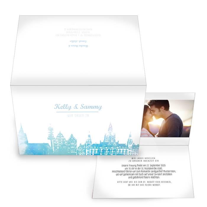 Schöne Einladungskarte im Design Skyline von Hannoever