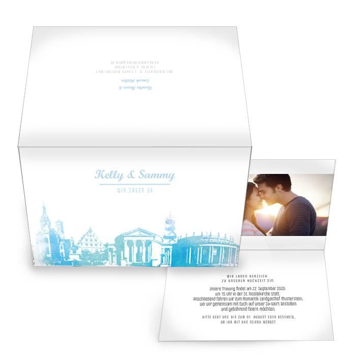Schöne Einladungskarte im Design Skyline von Stuttgart