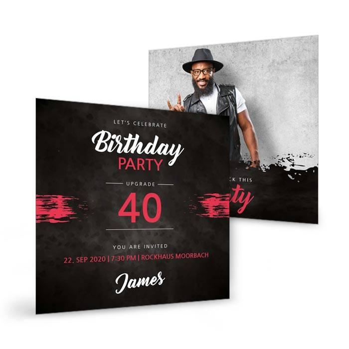 Rockige Einladungskarte zum Geburtstag selbst gestalten