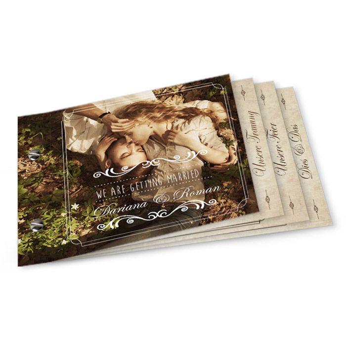 Shabby Chic Hochzeitseinladung im Bookletformat