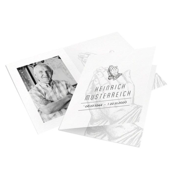 Sterbebild mit betenden Händen und Foto