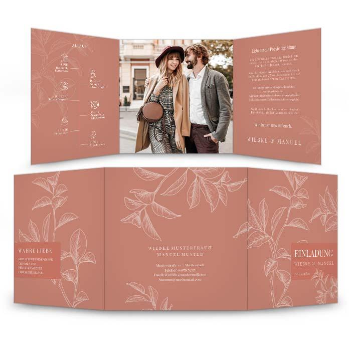 Stilvolle Hochzeitseinladung mit floraler Zeichnung in Terrakotta
