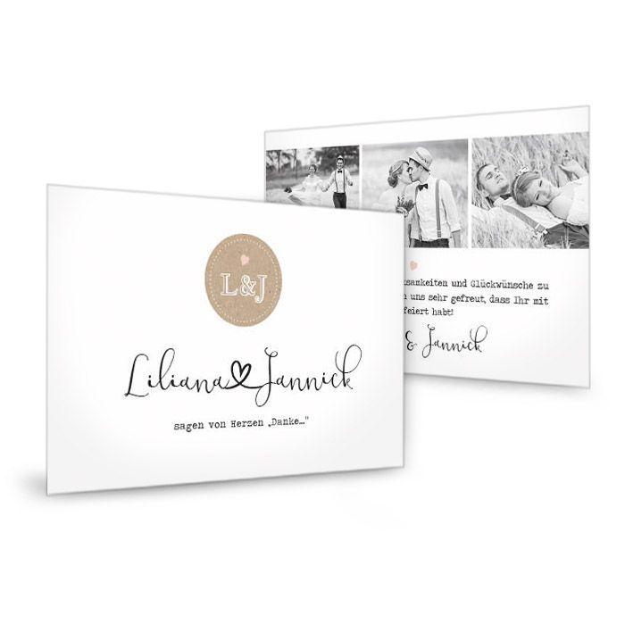Moderne Hochzeitsdanksagung mit Kraftpapierdesign Akzenten