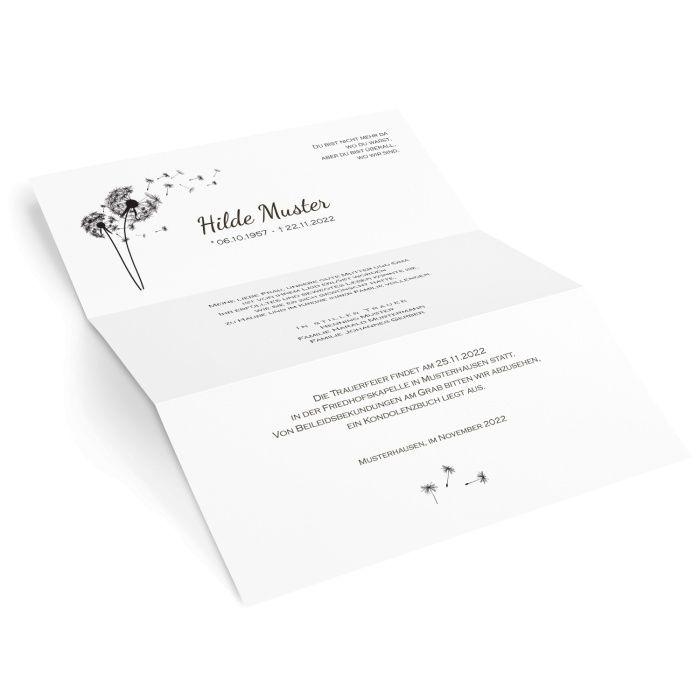 Stilvoller Trauerbrief mit Pusteblume - online selbst gestalten