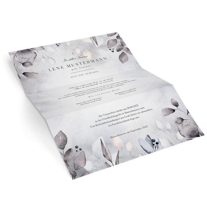 Stilvoller Trauerbrief in Grautönen mit Aquarellblättern