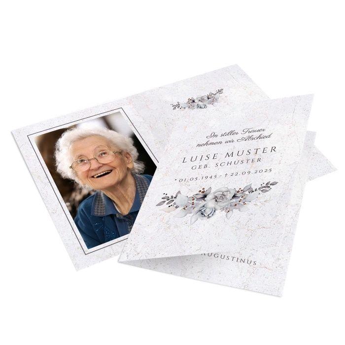 Stilvolles Trauerbild mit Blumenbouquet in Grautönen