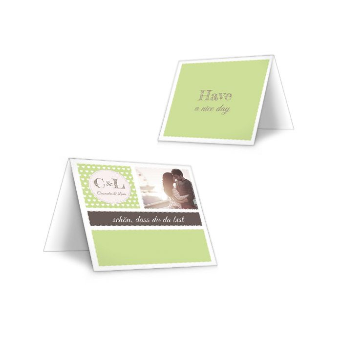 Tischkarten zur Hochzeit im Retro Stil in Grün mit Herzen