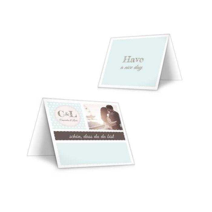 Tischkarten zur Hochzeit im Retro Stil in Mint mit Herzen