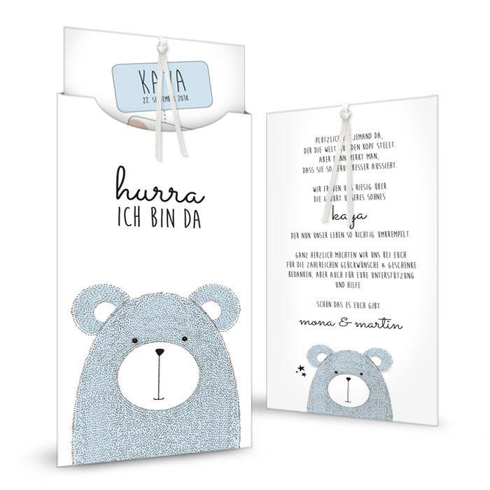 Süße Karte zur Geburt mit Bärchen in Blau als Einsteckkarte