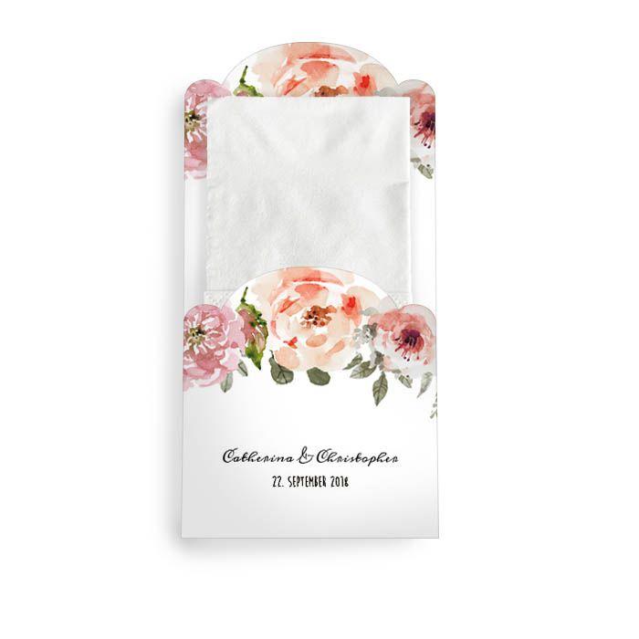 Hülle für Freudentränen-Taschentücher mit Aquarell Blumen