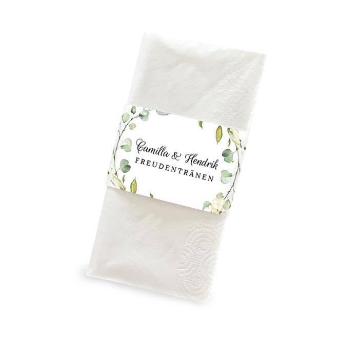 Taschentuchbanderole im Greenery Stil mit Blättern