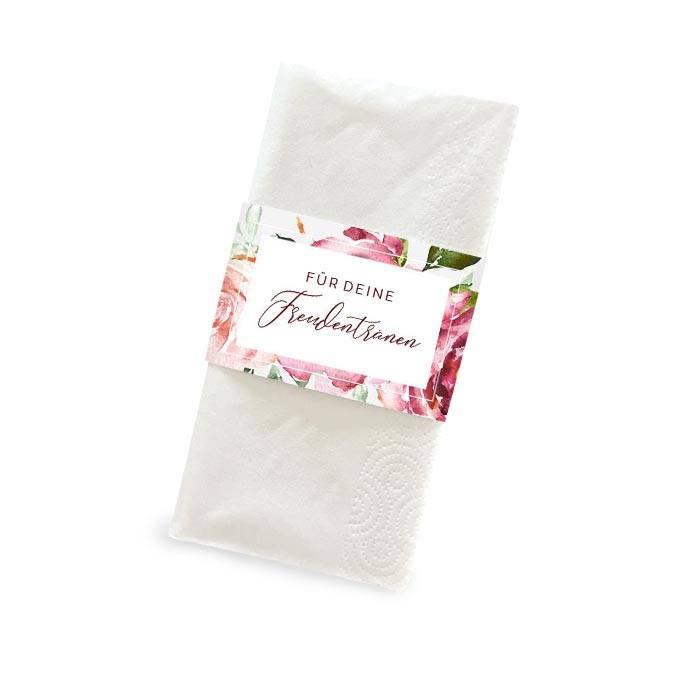 Banderole für Freudentränen Taschentücher mit Blumen