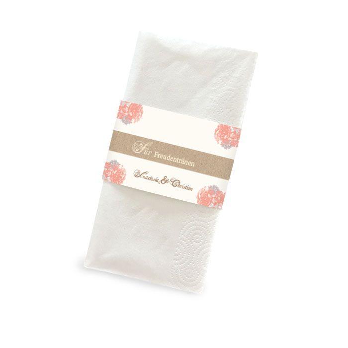 Florale Banderole für Freudentränen Taschentücher in Apricot