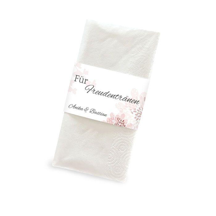 Florale Banderole für Freudentränen Taschentücher in Rosa