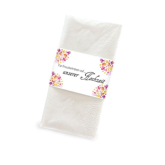 Banderole für Freudentränen Taschentücher mit buntem Aquarell