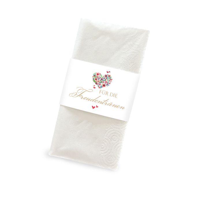Banderole für Freudentränen Taschentücher mit Herz aus Blumen
