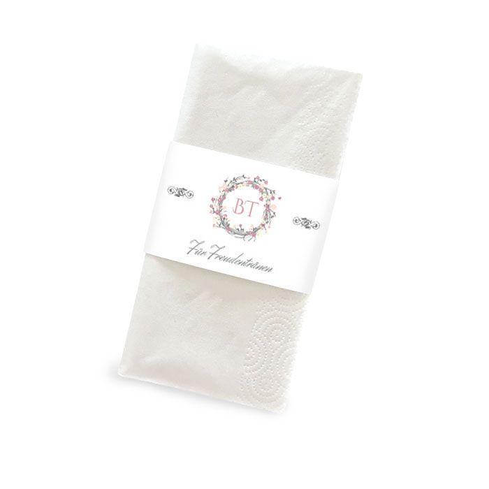 Banderole für Freudentränen Taschentücher mit Blütenkranz