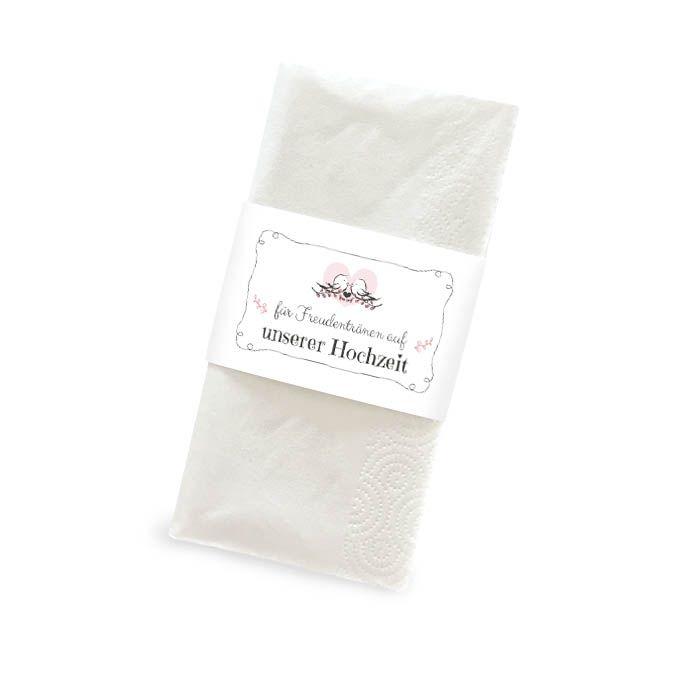 Banderole für Freudentränen Taschentücher mit Spatzen in Rosa