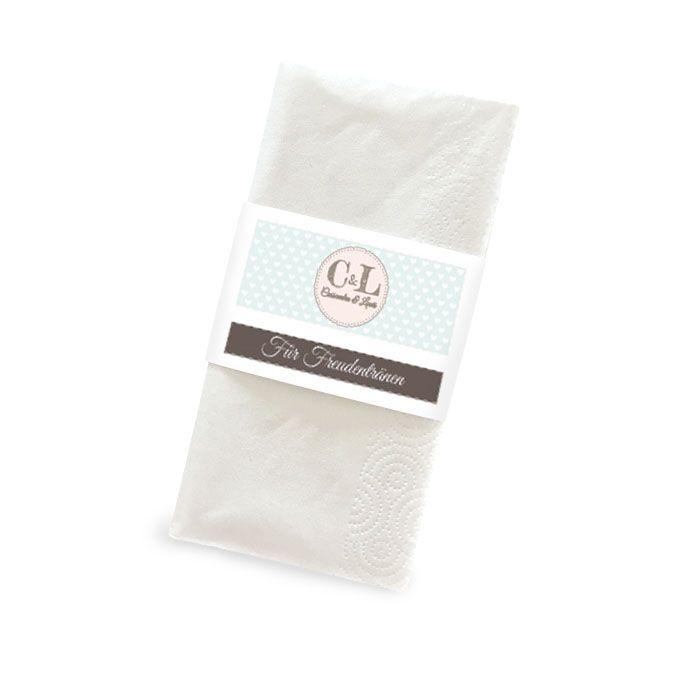 Banderole für Freudentränen Taschentücher im Retrostil in Mint