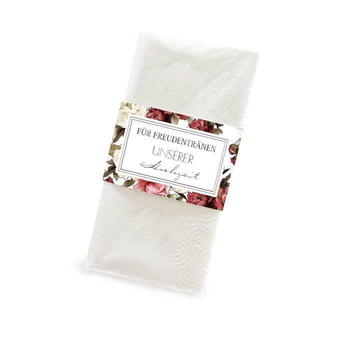 Banderole für Freudentränen Taschentücher mit Pfingstrosen
