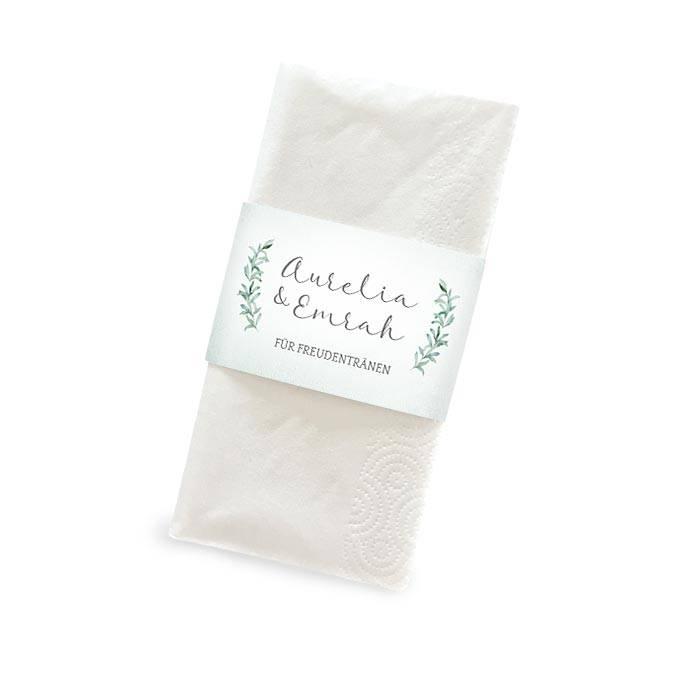 Banderole für Freudentränen Taschentücher im Greenery Stil