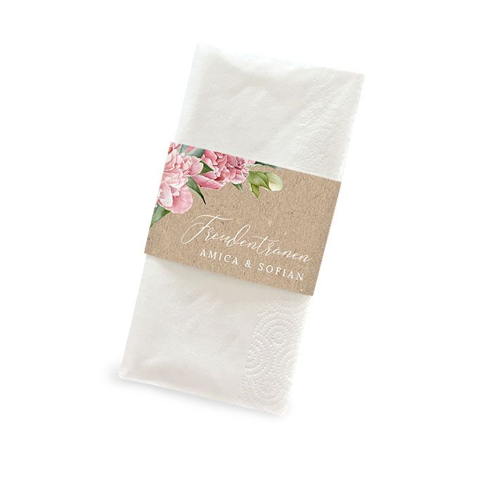 Banderole für Freudentränen Taschentücher im Kraftpapierstil