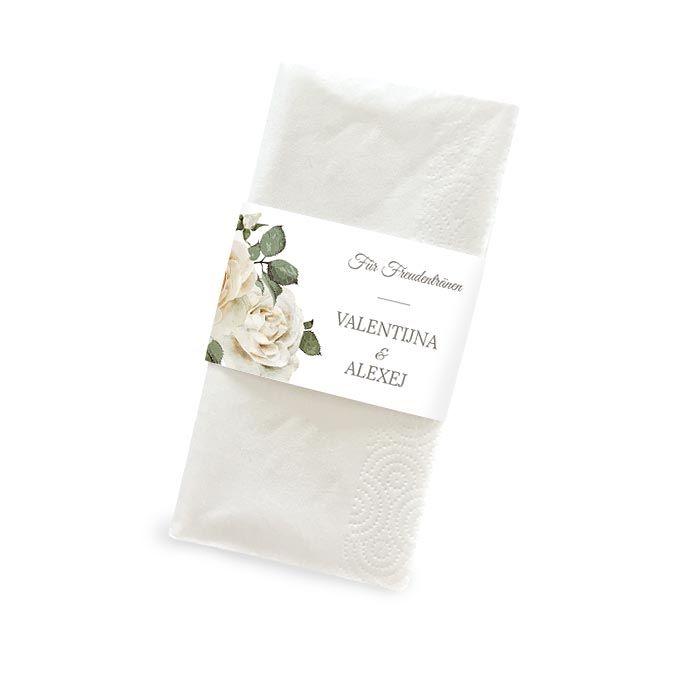 Banderole für Freudentränen Taschentücher mit weißen Rosen