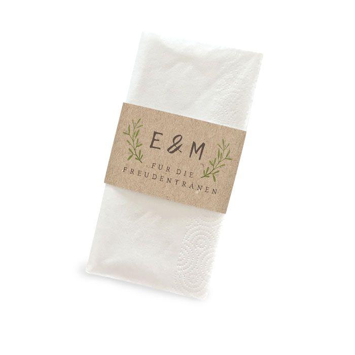 Banderole im Greenery Stil für Freudentränen Taschentücher