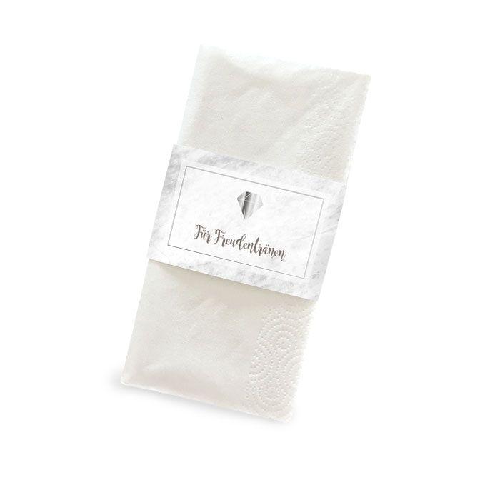 Taschentuchbanderole in Mamoroptik und Diamant