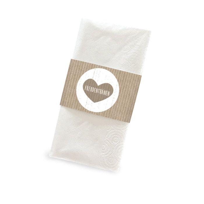 Banderole für Freudentränen Taschentücher in Packpapieroptik