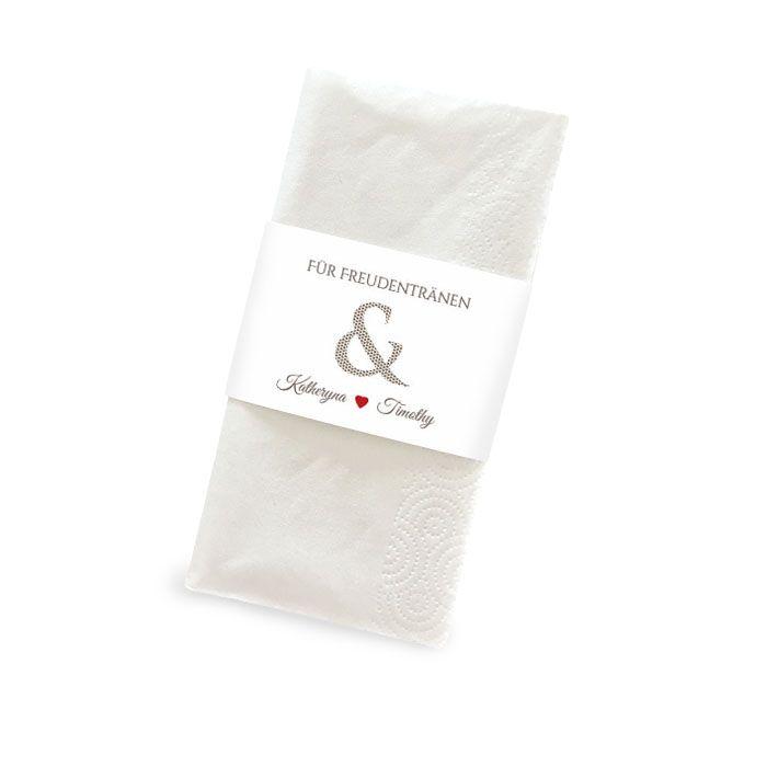 Banderole für Freudentränen Taschentücher mit &-Zeichen