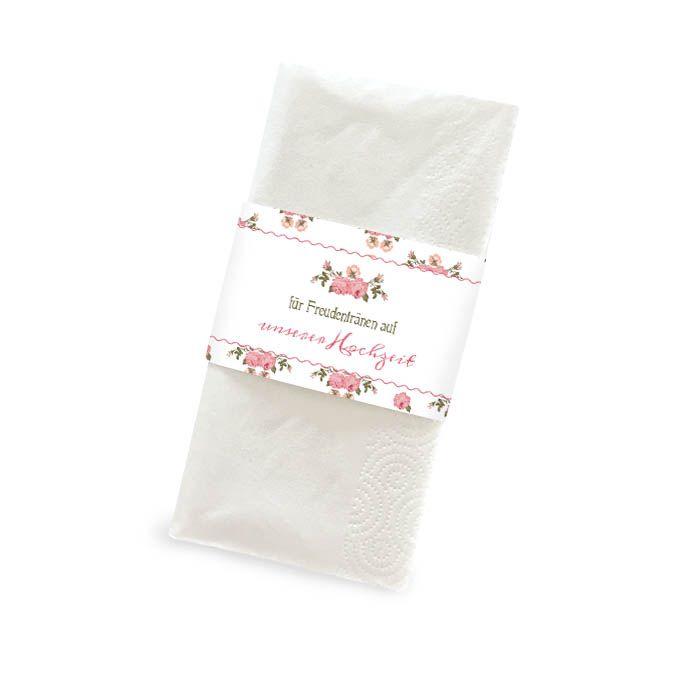 Banderole für Freudentränen Taschentücher mit rosa Rosen