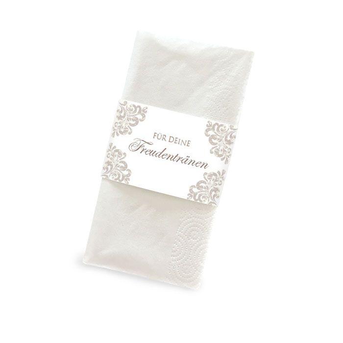 Elegante Banderolen in Taupe für Freudentränen Taschentücher