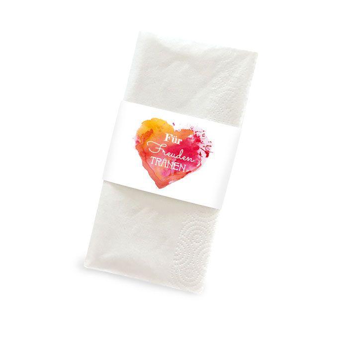Banderole für Freudentränen Taschentücher mit Watercolorherz