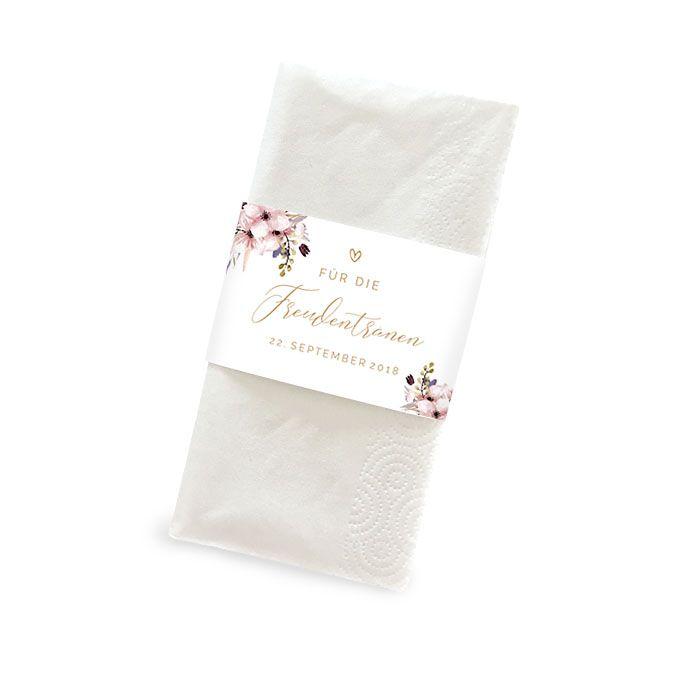 Banderole für Freudentränen Taschentücher mit Aquarellblumen