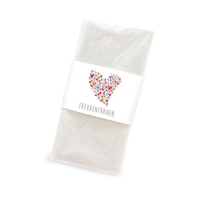 Banderolen für Freudentränen Taschentücher mit bunten Herzen
