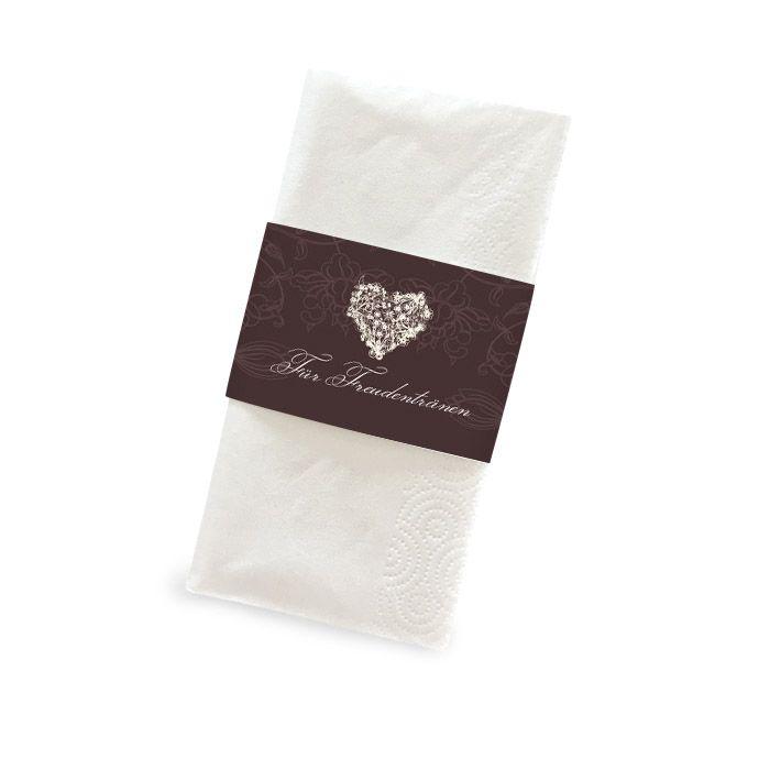 Banderole für Freudentränen Taschentücher mit Herz in Braun