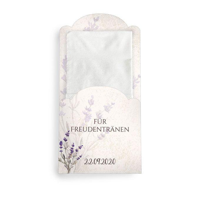 Hüllen für die Freudentränen Taschentücher mit Lavendelmotiv