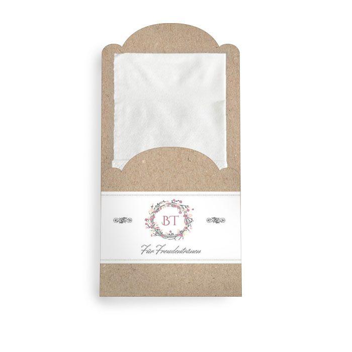 Taschentuchhülle mit Blumenkranz im Packpapier Look