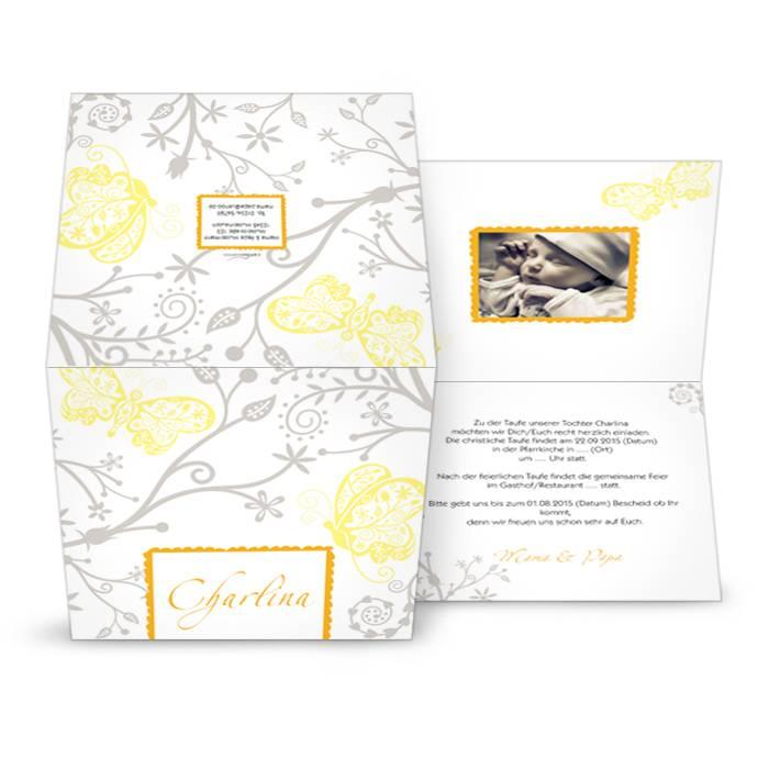 Moderne Taufkarte in Gelb und Grau selbst gestalten