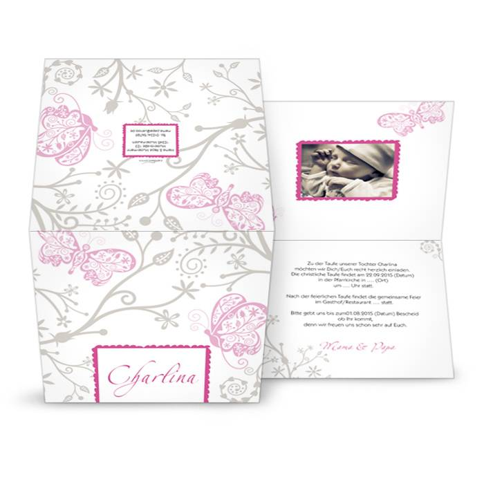 Moderne Taufkarte in Rosa und Grau mit Schmetterlingen