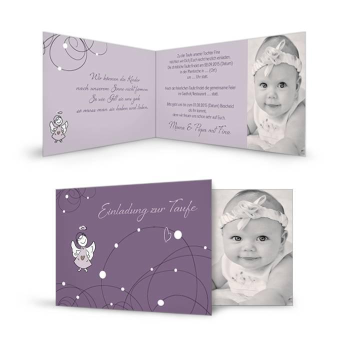Taufkarte in Flieder mit großem Foto und tollem Format